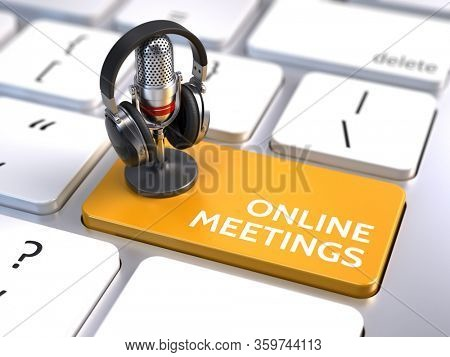 Online meetings, Online Education and Training concept - Orange Online meetings button with microphone and headphones. 3d rendering