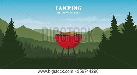 Camping Adventure In The Wilderness With Kettle Grill Bbq Vector Illustration Eps10