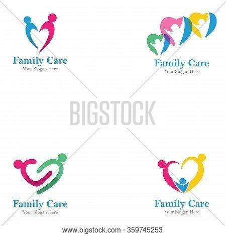 Family Care Logo Icon Design. Love Family Logo Design Template