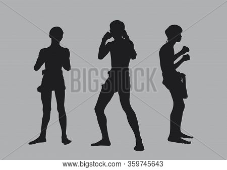 Muay Thai Or Thai Boxing Fight Traditional Group Silhouettes Pose On Gray Background, Flat Line Vect