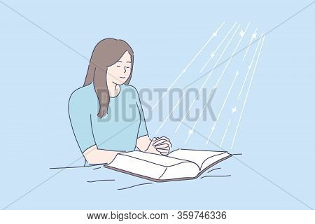 Prayer, Blessing, Religion, Bible, Faith Concept. Young Happy Religious Woman Or Girl Prays In Room
