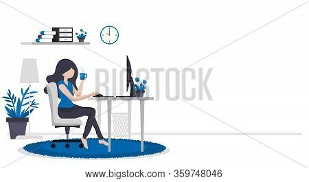 Work Form Home Concept Background Of Woman Working With Computer On Table In Room At Her Home With A