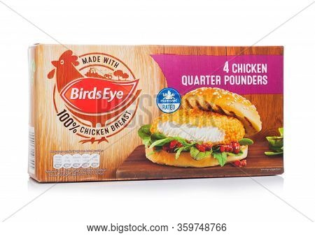 London, Uk - April 01, 2020: Box Of Birds Eye Frozen Chicken Quarter Pounders Burgers On White.