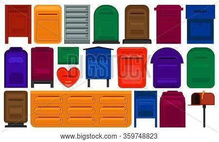 Mailbox Vector Cartoon Set Icon. Letterbox Isolated Cartoon Set Icon. Vector Illustration Mailbox On