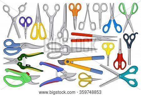 Scissors Vector Cartoon Set Icon. Vector Illustration Scissor Equipment On White Background. Isolate