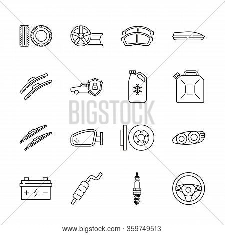 Auto Parts For Car Service Flat Line Icon Set. Vector Illustrations To Indicate Product Categories I