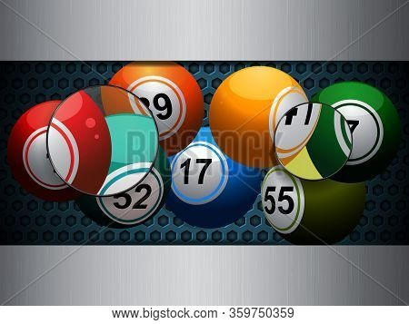 3d Illustration Of Bingo Lotto Lottery Balls Over Metallic Blue Honeycomb And Silver Brushed Metalli