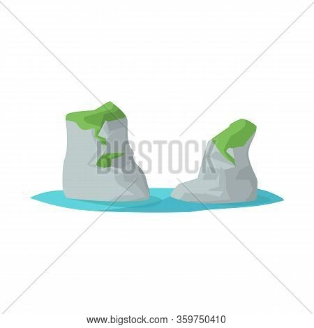 Isolated Object Of Rock And Bay Icon. Collection Of Rock And Vietnamese Stock Vector Illustration.