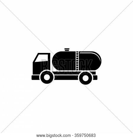 Truck Auto Barrel, Oil Transportation. Flat Vector Icon Illustration. Simple Black Symbol On White B