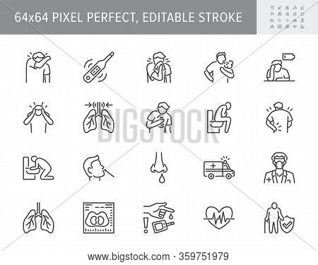 Coronavirus, Flue Virus Symptoms Line Icons. Vector Illustration Included Icon - Cough, Fever, Lung