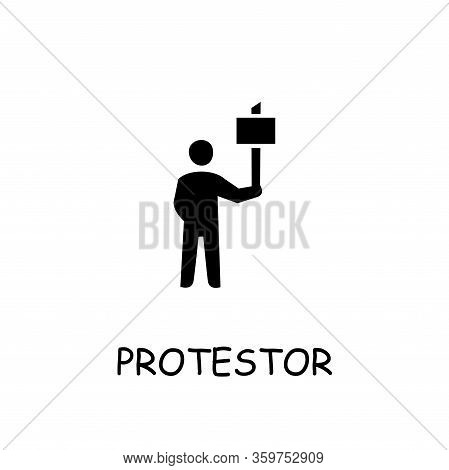 Protestor Flat Vector Icon. Hand Drawn Style Design Illustrations.