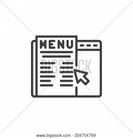 Online Food Ordering Line Icon. Linear Style Sign For Mobile Concept And Web Design. Online Restaura