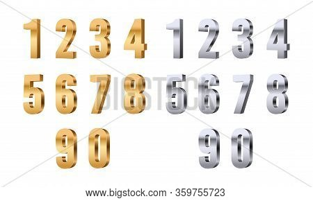 3d Numbers. Gold Silver Digits, Stylish Beauty Font Elements. Glitter Figures For Price Or Sale, Ann