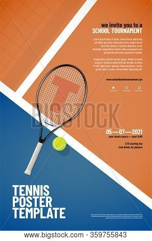 Tennis Tournament Poster Template With Racket, Ball, Playground, Net Shadow And Sample Text In Separ