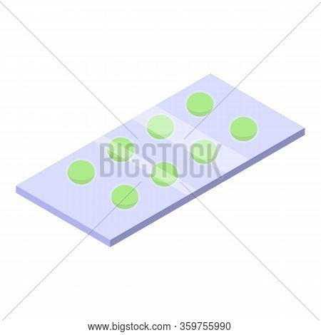 Green Pill Blister Icon. Isometric Of Green Pill Blister Vector Icon For Web Design Isolated On Whit