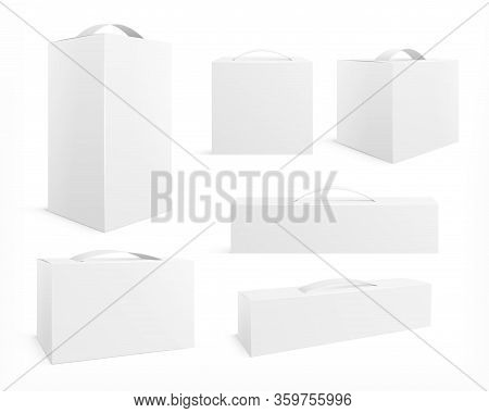 Box With Handle. Cardboard Package, Realistic Pack. Medicine Container Mockup. Restaurant Food Blank