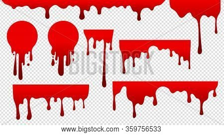Dripping Blood. Red Stain Paint. Flow Drops, Fluid Stripes Background. Bloody Current Or Sauce Stain