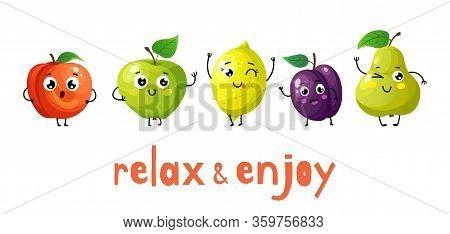 Funny Fruits. Cartoon Baby Fruit, Summer Sweets. Isolated Apple, Peach And Plump. Healthy Food Vecto