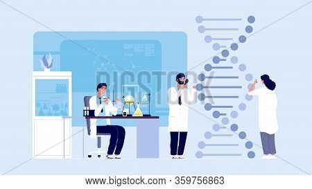 Genetic Science. Dna Molecule Laboratory Research, Gene Structure Information. Biological Or Behavio