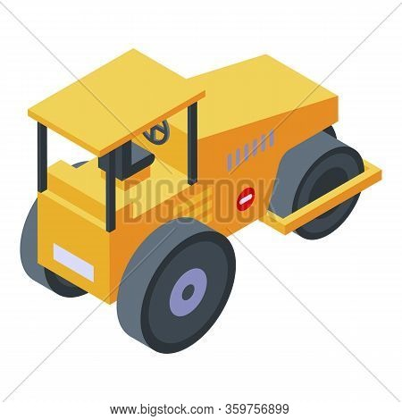Yellow Steamroller Icon. Isometric Of Yellow Steamroller Vector Icon For Web Design Isolated On Whit