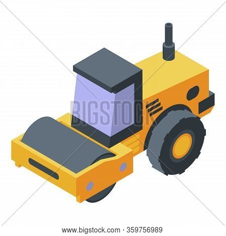 Road Roller Compactor Icon. Isometric Of Road Roller Compactor Vector Icon For Web Design Isolated O