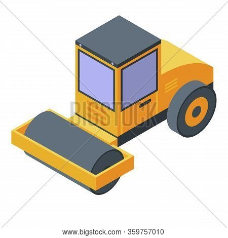 Road Construction Roller Icon. Isometric Of Road Construction Roller Vector Icon For Web Design Isol