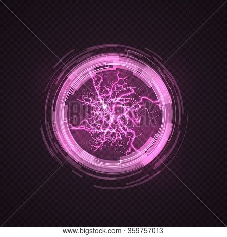 Lighting Circle. Purple Ball, Energy Plasma. Electric Power Explosion, Pink Sparks And Thunderbolt S
