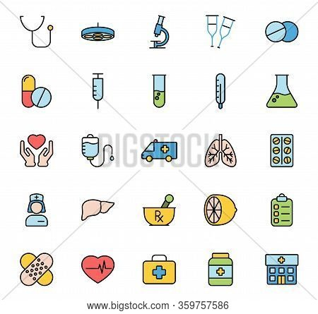 Medicine And Healthcare Color Vector Icons Isolated On White Background. Seasonal Medical Pharmacy C