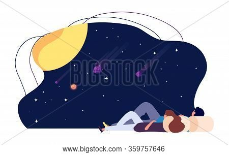 Starry Sky. Girl Guy Look At Stars And Planets. Astronomy, Night Date Vector Illustration. Guy Looki