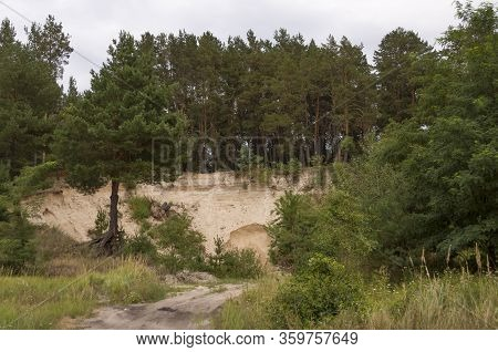 Sand Quarry In The Forest. Breakage Or Precipice, Fall... Summer Landscape