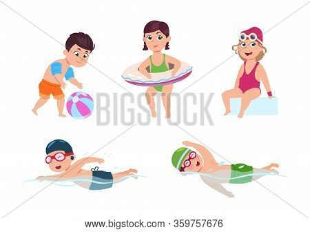 Swimming Children. Happy Kids, Little Beach Girl. Sea Or Pool Party. Isolated Cartoon Friends In Swi