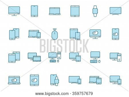 Smart Devices Lineal Blue Vector Icons Isolated On White Background. Smart Devices Technology Flat I