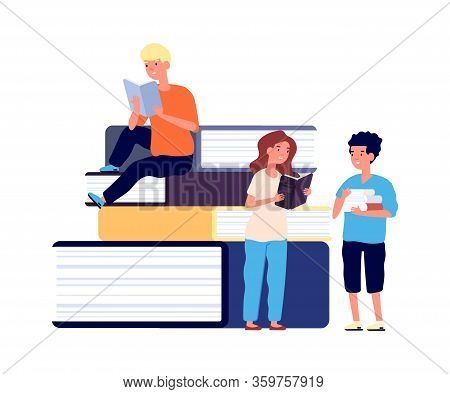 Kids Reading. School Children With Books. Girl And Boy, Little Students Learning. Huge Book And Read