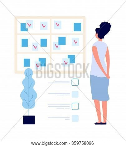 Task Board. Manager Woman Looking At Planning. Time Management, Multitask And Organization Work Proc