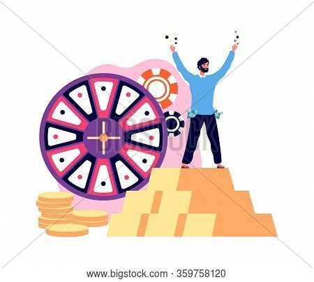 Win Jackpot Prize. Lucky Man Casino Winner With Golden Coins. Guy Playing Lottery, Gambling Vector I