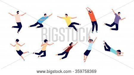 Flying People. Falling Woman Man. Dreams Of Persons, Fly In Air Space. Floating Pose, Imagination An