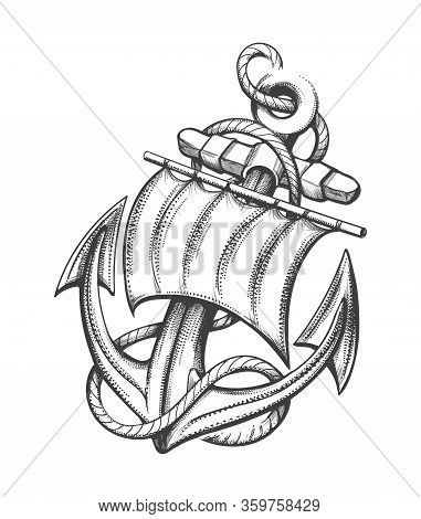 Ship Anchor With Sail And Ropes Tattoo Drawn In Engraving Style. Vector Illustration.
