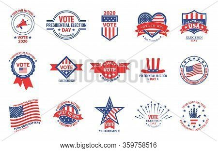 Election Badges. Political Campaign, Usa Presidential Day Vote. American Flag Patriotic Voter Sticke
