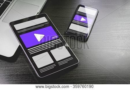 Programmatic Native Advertising - Online Targeting, Ads Marketing Strategy. Advertising Media Banner