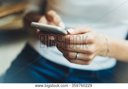 Workplace At Home, Person Using Smartphone Isolated, Hipster Manager Holding Mobile Gadget, Girl Tex