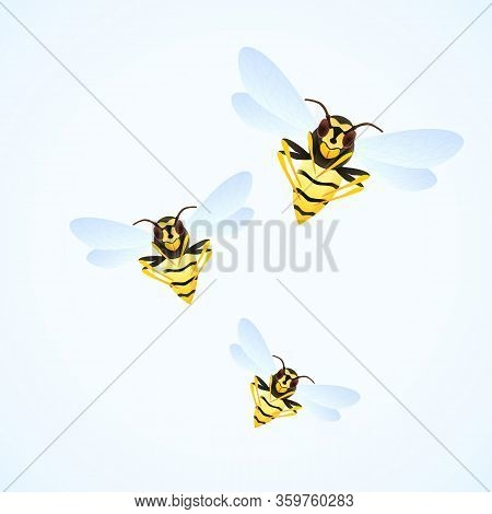 Wasp Swarm Cartoon Illustration Isolated On White Background. Poisonous Insect. Yellow Wasps. Vector