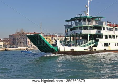 Venice, Italy - December 19, 2012: Ferryboat Marco Polo Actv Ferry Line At Giudecca Canal In Venice,