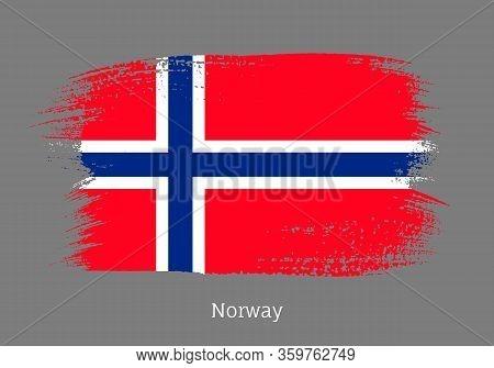 Norway Official Flag In Shape Of Paintbrush Stroke. Norwegian National Identity Symbol. Grunge Brush