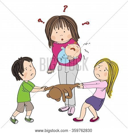 Two Siblings (brother And Sister) Fighting, Pulling Teddy Bear Toy, Boy Is Angry And Girl Is Tearful