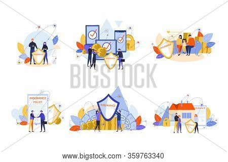 House, Family, Health, Electronic Device, Insurance Policy Set Concept. People, Men Women, Family Me