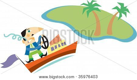A man smoking a cigarette while driving a boat towards an island with palm trees on it poster
