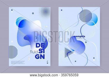 Blue Hipster Memphis Brochure. Trendy Fluid Design. Liquid Banner. Graphic Business Magazine. Hipste
