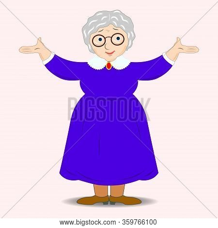 A Flat Drawing Of A Smiling Grandmother. Cute Granny With Glasses, Blue Dress . Friendly Cartoon Cha