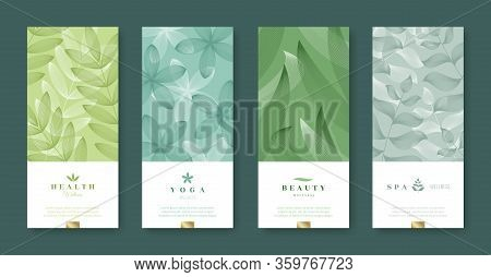 Leaves And Nature Banner Set. Beauty And Health Minimal Design. Voucher Template With Logo - Health,