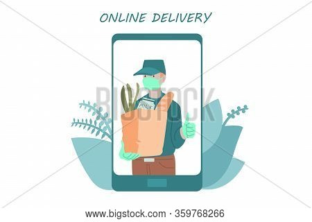 Poster Concept For Home Delivery. Man In Mask With Bag Full Of Goods Inside Of Smartphone. Restauran